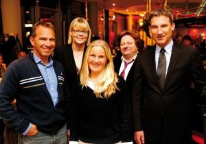 Talkten bei Nenningers: KSV-Vorstand Jens Rose, Moderatorin Petra Nagel, Annika Salonen, Comedian Martin Lücker und Regionalmanager Holger Schach (v.l.). Foto: Mario Zgoll