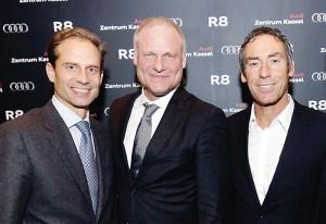 Frank Florian Glinicke (Inhaber Glinicke Gruppe), Volker Link (Geschäftsführer Audi Zentrum Kassel) und Achim Saurer (Gesamtvertriebsleiter Region Süd West Audi AG) (v.l.). Foto: Mario Zgoll