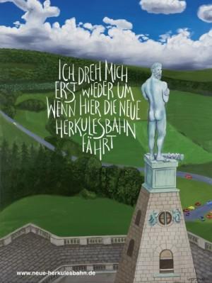 Mit diesem Plakat warb der Förderverein Neue Herkulesbahn für sein Wunschprojekt. Quelle: Förderverein Neue Herkulesbahn