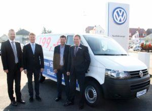 Nutzfahrzeuge sind ein wichtiger Baustein des Autohauses. Die Geschäftsführer Dieter, Jürgen, Patrick und Jens-Uwe Klein (v.l.) setzen auf Service, Qualität und Kompetenz. Foto: nh