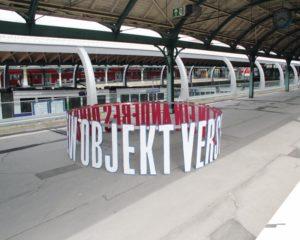 """Heini Guts Kunstwerk """"In ein anderes Ding..."""" am Kasseler Kulturbahnhof. Foto: nh"""