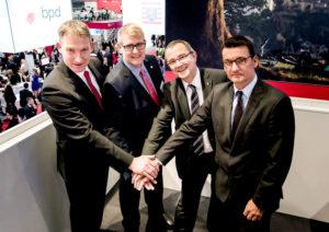 Hessische Wirtschaftsförderer: Holger Schach, Regionalmanagement Nordhessen, Jens Ihle, Regionalmanagement Mittelhessen, Dr. Reiner Waldschmidt, Hessen Trade & Invest, und Eric Menges, FrankfurtRheinMain (v.l.). Foto: nh