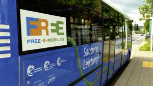 Der E-Bus war auf der Linie 16 vom Auestadion über den Auedamm zur Innenstadt und zurück im Einsatz. Foto: Regionalmanagement Nordhessen GmbH