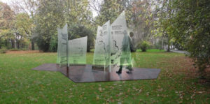 """Die Skulptur soll auf dem Areal der """"Grünen Banane"""" in der Friedrich-Ebert-Straße errichtet werden. Skulpturentwurf und Foto: Linda Cunningham"""