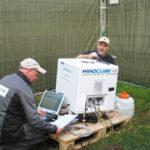 Aufbau eines LiDAR-Gerätes zur Bestimmung des Windpotenzials an einem Waldstandort. Foto: © Fraunhofer IEE