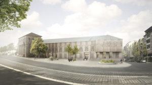 Visualisierung des geplanten Neubaus. Foto: mhk/Harry Gugger Studio Ltd. Basel