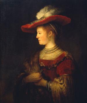 Erst nach ihrem Tod vollendet: Das wohl berühmteste Gemälde von Rembrandts Ehefrau, das diese in einem aufwendigen Renaissance-Kostüm zeigt. Foto: Ute Brunzel, Museumslandschaft Hessen Kassel, Gemäldegalerie Alte Meister